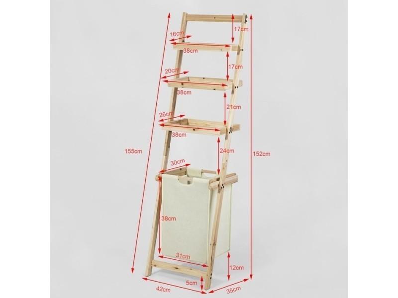 Étagère Murale Style échelle Pour Salle De Bain Avec 1 Panier à Linge  Amovible Et 3 Niveaux De Rangement Frg160 N Sobuy®