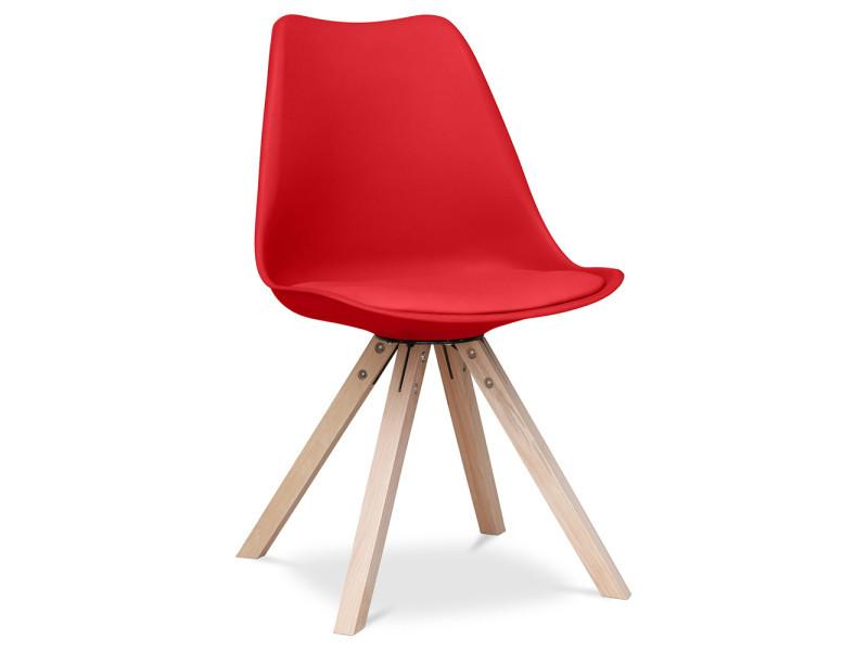 Chaise design scandinave avec coussin geneva - polypropylène mat rouge