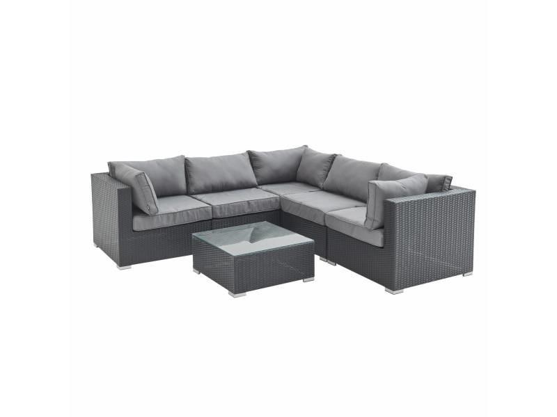 Salon de jardin en résine tressée - napoli - noir. Coussins gris - 5 places - 2 fauteuils sans accoudoir. 3 fauteuils d'angle. Une table basse
