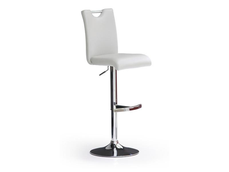 Tabouret de bar en pu socle rond en acier brossé rotation 360° coloris blanc - dim : l 42 x p 52 x h 91-116 cm -pegane-