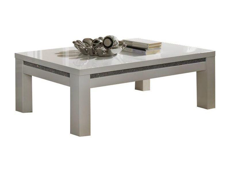 table de salon blanche laqu e avec d cor strass vente de comforium conforama. Black Bedroom Furniture Sets. Home Design Ideas