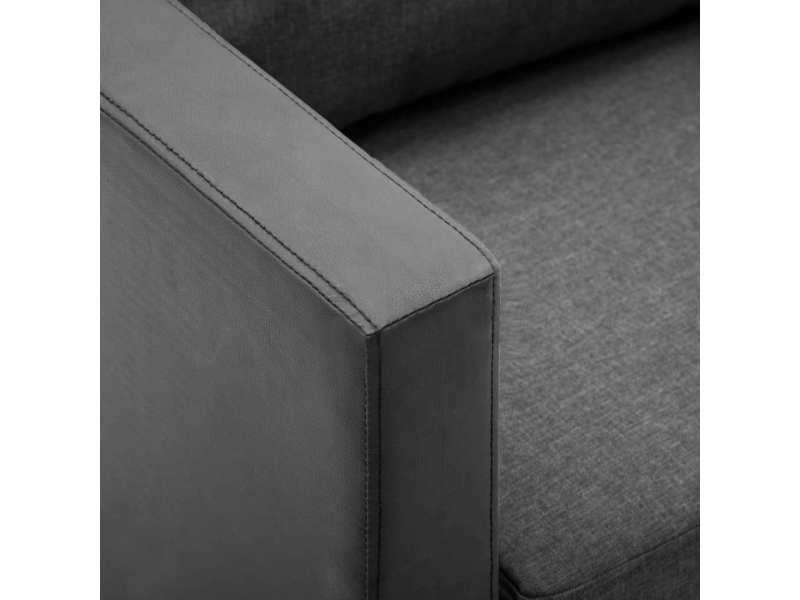 Vidaxl canapé à 2 places simili-cuir noir et gris clair 247165
