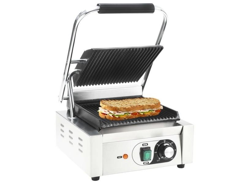Splendide électroménager de cuisine ligne nicosie grill pour panini rainuré acier inoxydable 1800 w 32x41x19 cm