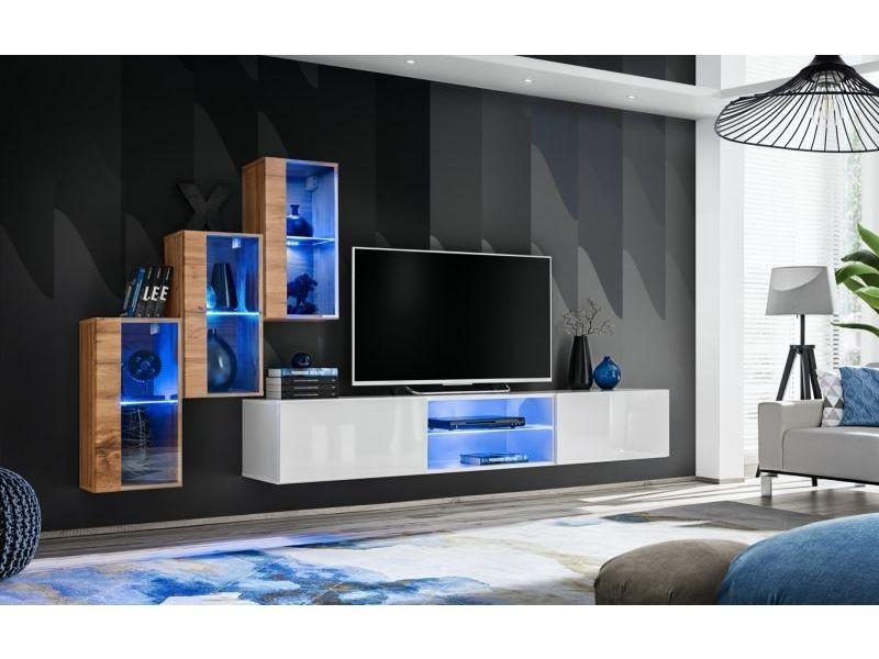 Ensemble meuble tv mural switch xxii - l 240 x p 40 x h 170 cm - marron et blanc
