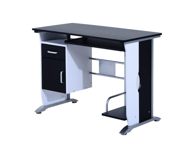Bureau informatique design en mdf 100 l x 52 i x 75h cm noir et