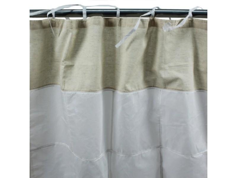 Quatrain - rideau en coton à nouettes blanc et naturel 150x250