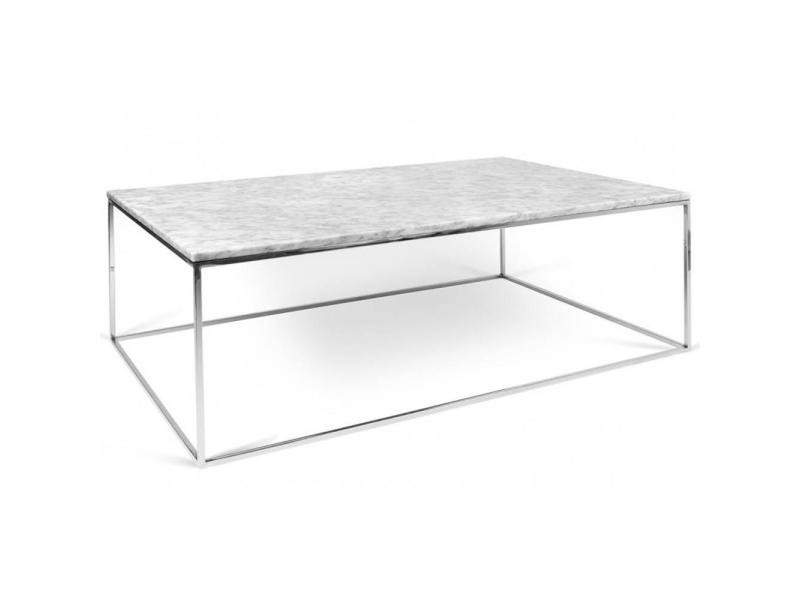 table basse rectangulaire gleam 120 plateau en marbre blanc structure chrom e 20100864902. Black Bedroom Furniture Sets. Home Design Ideas
