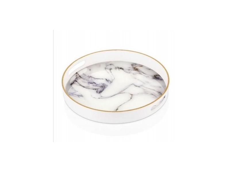 Grand plateau rond blanc/marbre