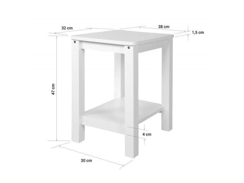 Table D Appoint Table De Chevet En Bois Blanc Hauteur 74 Cm