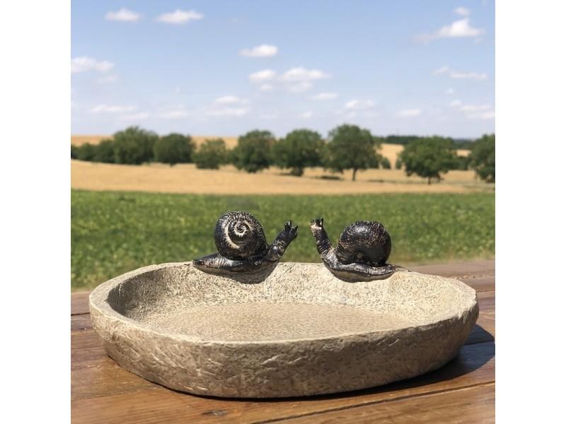 Bain d'oiseaux mangeoire baignoire pataugeoire oiseaux jardin escargot 21 cm x 19.50 cm x 6 cm