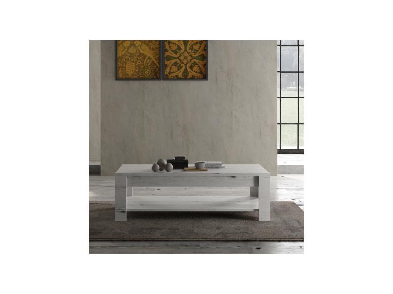 Table basse double plateau chêne blanchi - verone - l 140 x l 68 x h 45 - neuf