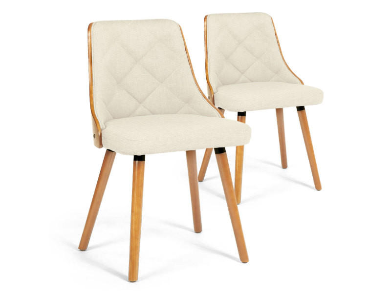 Lot de 2 chaises scandinaves lalix chêne clair et tissu beige ...