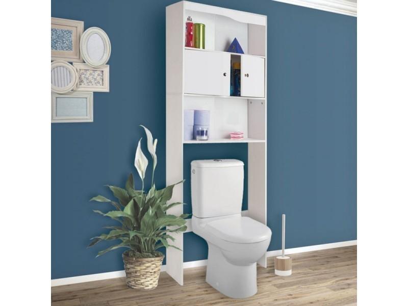 meuble tag re dessus wc bois coloris blanc vente de id. Black Bedroom Furniture Sets. Home Design Ideas