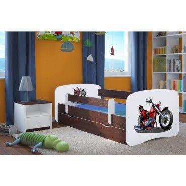 lit enfant moto 80 cm x 180 cm avec barriere de securite. Black Bedroom Furniture Sets. Home Design Ideas