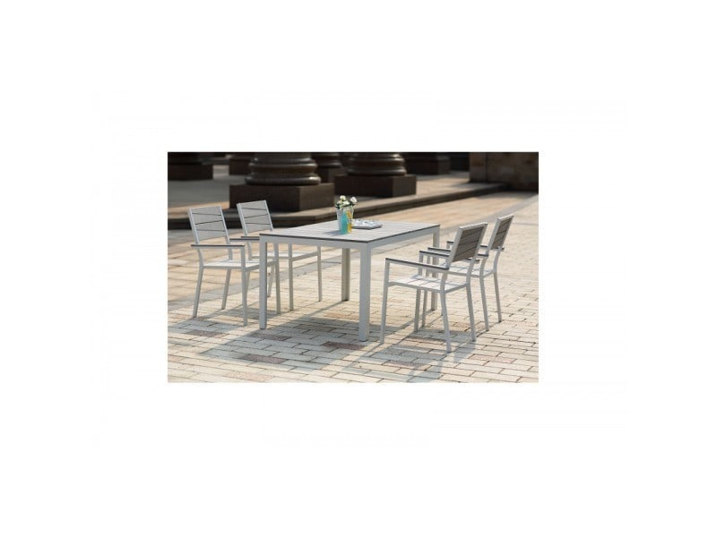 Le carillon : salon de jardin aluminium et polywood 4 places gris et ...