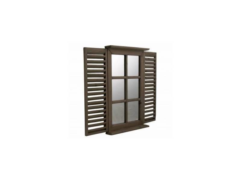 Miroir style fenêtre à 2 volets persiennes en bois marron rectangulaire grande glace 5x47x71cm