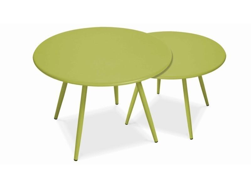 Tables basses de jardin en métal, palavas acier vert