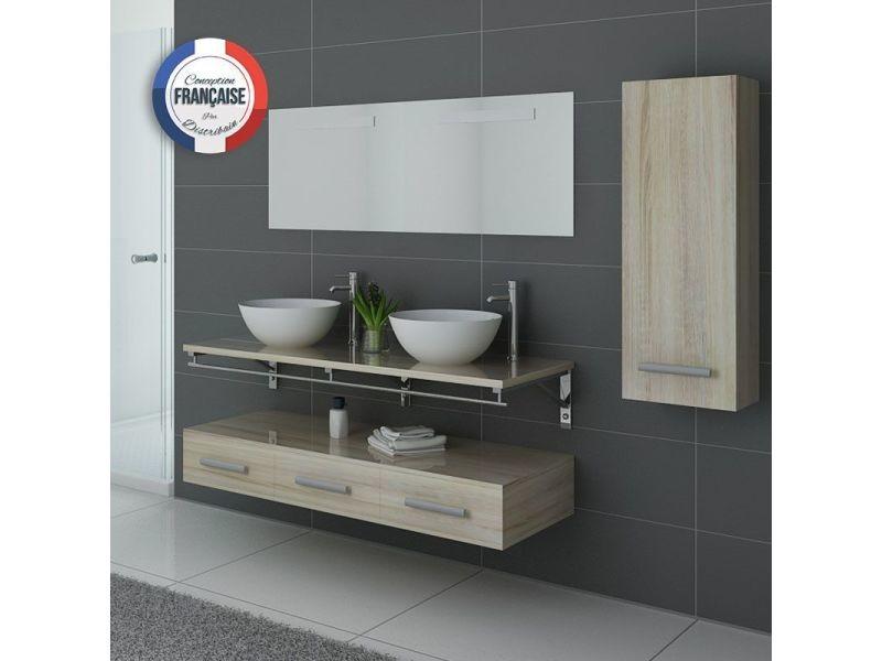 Meuble de salle de bain double vasque scandinave virtuose - Meuble vasque salle de bain conforama ...
