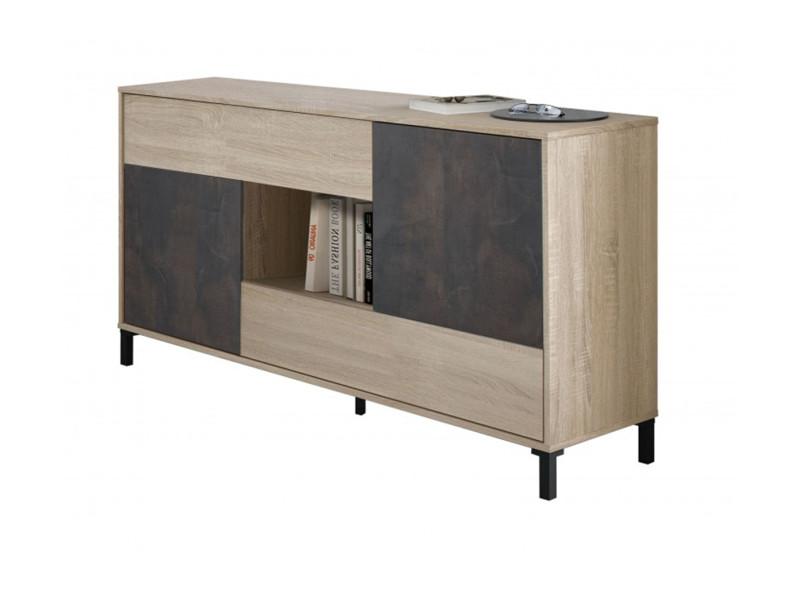Buffet avec 2 portes et 2 tiroirs coloris chêne canadien / effet industriel vieilli - hauteur 80 x longueur 151 x profondeur 41 cm