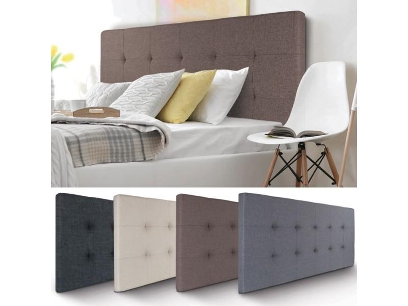 t te de lit capitonn e en tissu 160x58 cm taupe vente de. Black Bedroom Furniture Sets. Home Design Ideas