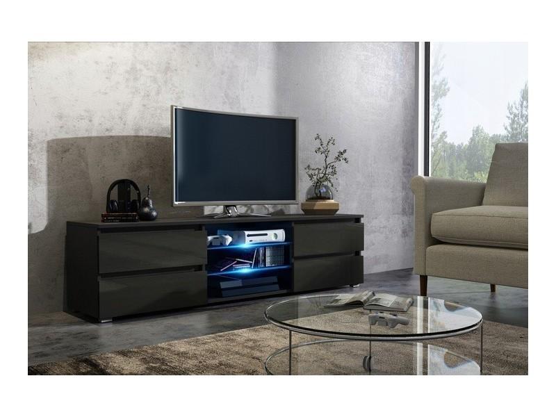 Meuble tv noir mat et noir brillant 4 tiroirs + led rgb