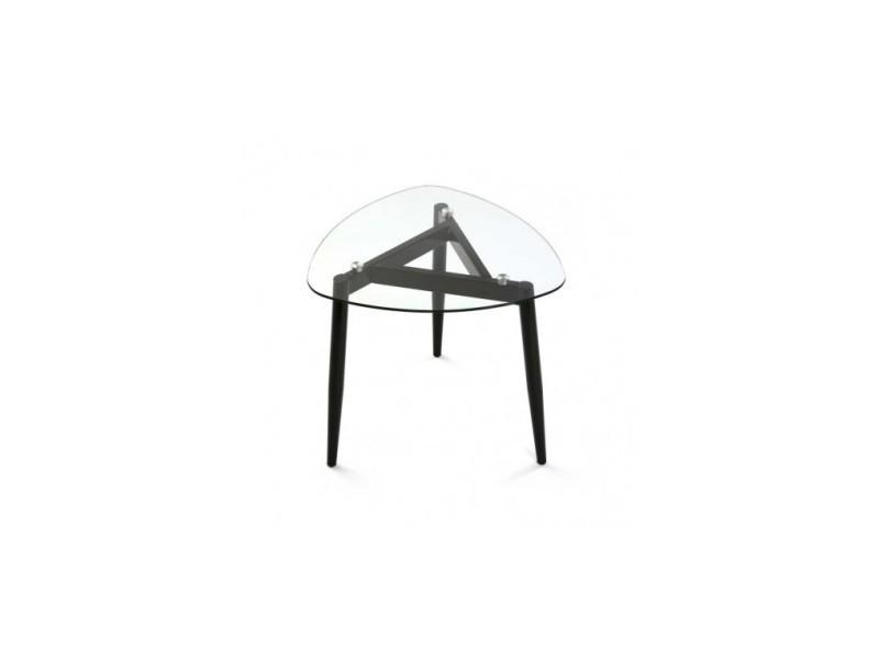 Table d'appoint plateau verre cristal