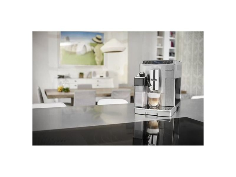 Machine à expresso automatique avec broyeur connecté pour café en grains et moulu 1450w gris