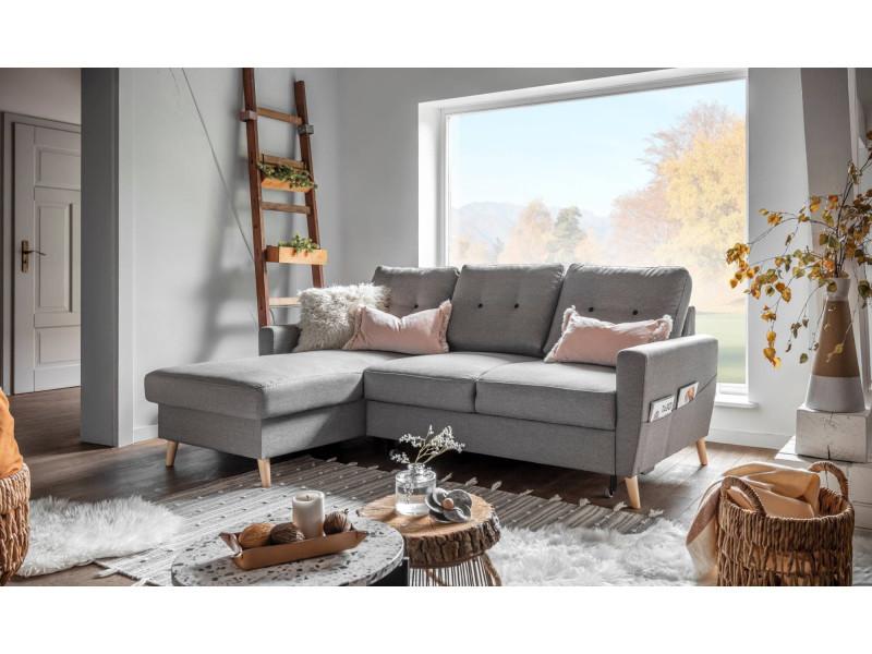 oslo canap d angle gauche convertible gris clair 225x147x86cm vente de canap d 39 angle. Black Bedroom Furniture Sets. Home Design Ideas