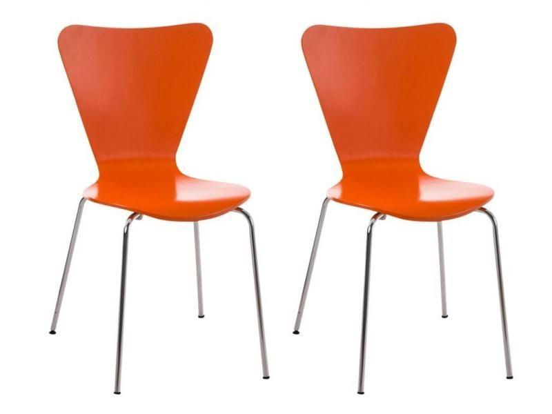Lot de 2 chaises de séjour bureau en bois orange et métal cds10010