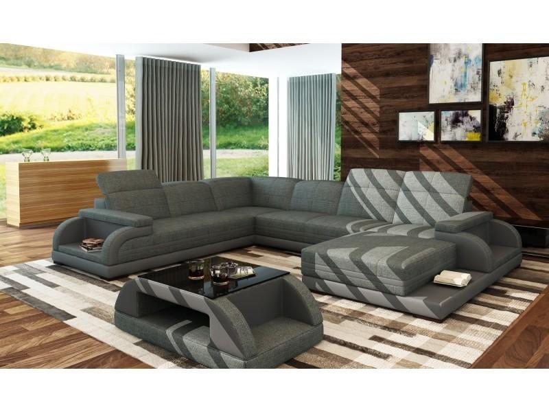 Canapé panoramique en tissus gris chiné design bali panoramique (angle droit)-