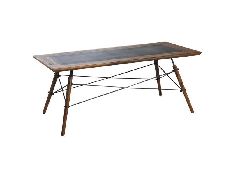 Table basse en bois de suar massif / métal - dim : 110 x 50 x 45 cm - pegane -