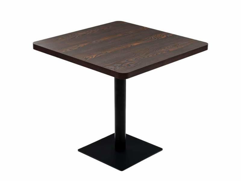 Table haute mange debout bar bistrot mdf et acier carré 80 x 80 cm frêne foncé marron helloshop26 0902107
