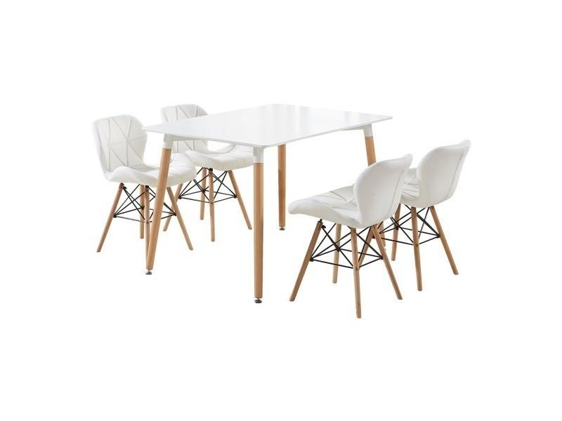 Ensemble table blanche design scandinave + 4 chaises blanches en simili cuir - cecilia halo