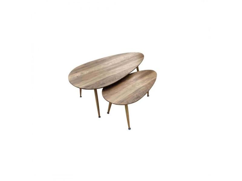 Fly lot de 2 tables basses bois 411943
