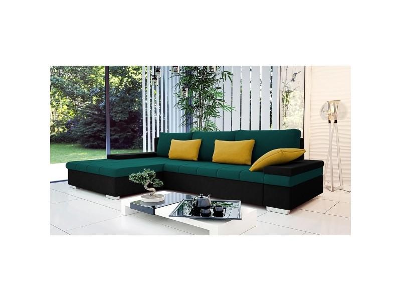 Rosy - canapé d'angle convertible vert et noir - angle gauche