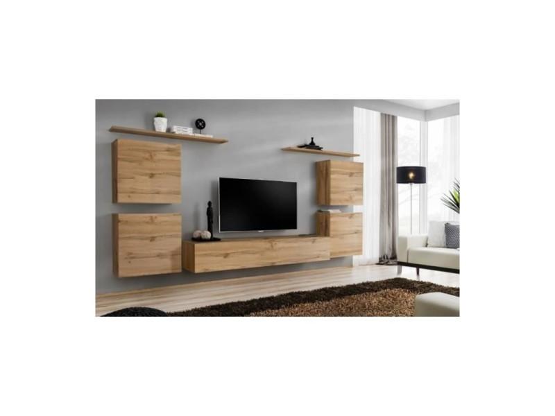 Ensemble meuble salon switch iv design, coloris chêne wotan.