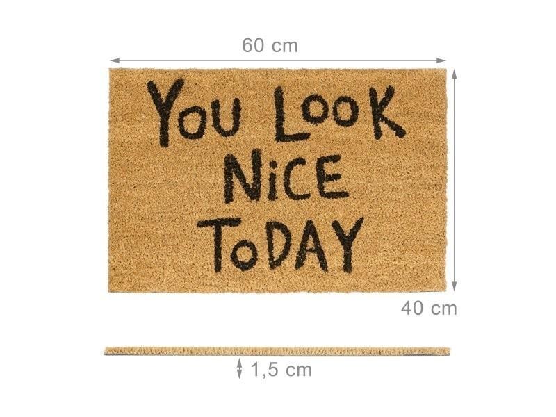 Paillasson en fibres de coco tapis de sol porte entrée 60 x 40 cm helloshop26 2013122