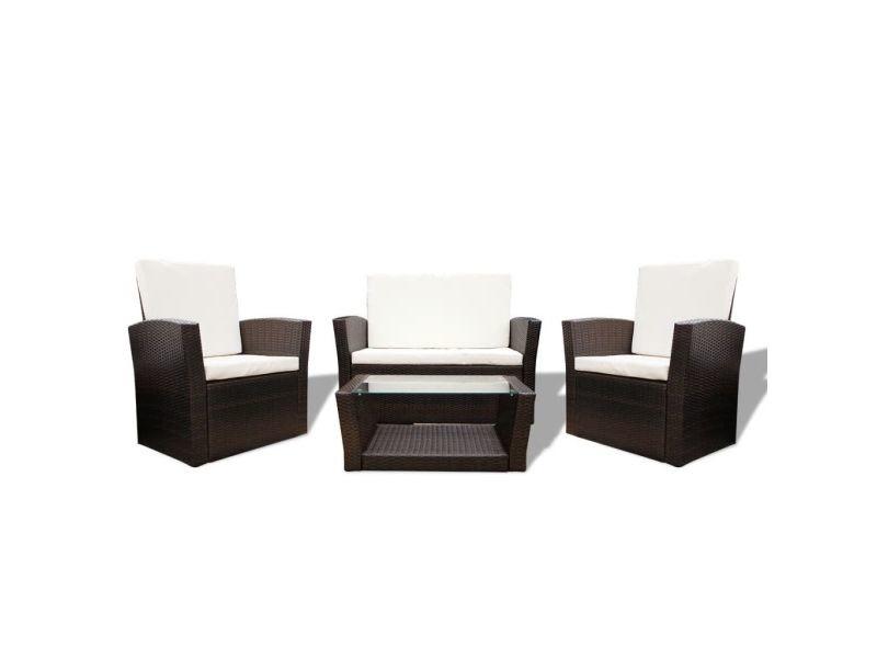 Icaverne - ensembles de meubles d'extérieur selection ensemble de canapés de jardin 10 pièces rotin synthétique marron