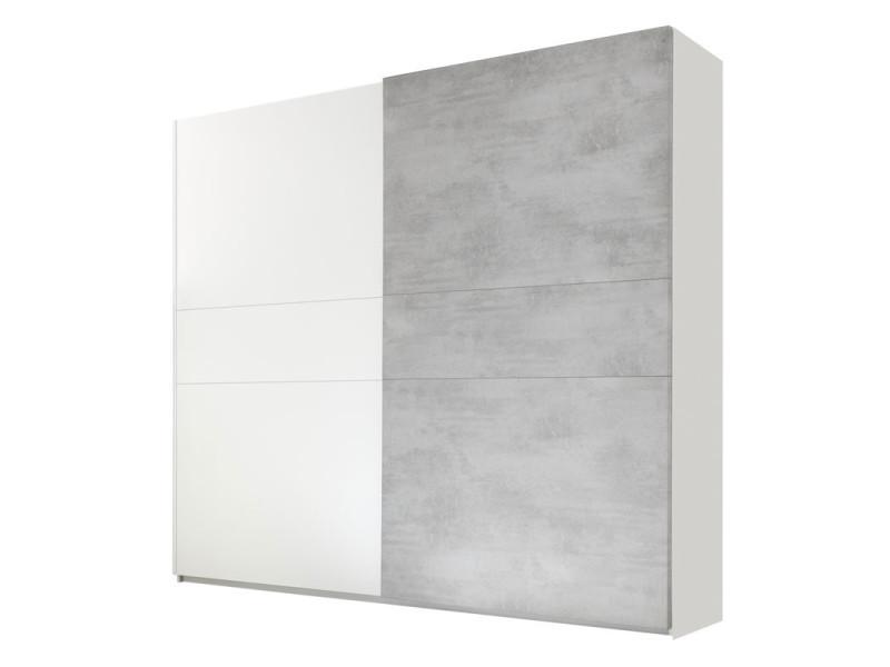Armoire 2 portes coulissantes blanc/ciment - aniece n°2 - l 275 x l 64 x h 248 - neuf