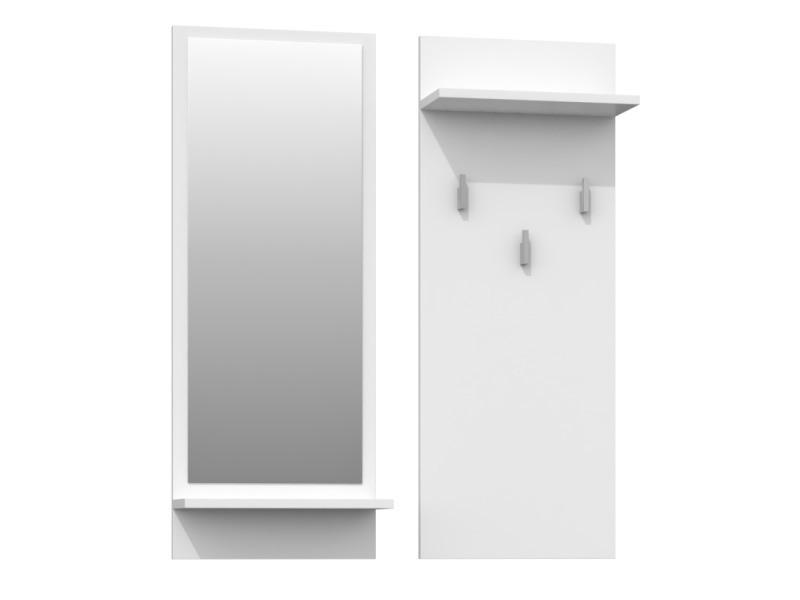 Kameron - porte-manteau d'entrée hall - 3 grands crochets à vêtements - dimensions : 90x35x16 - étagères pratiques - miroir - blanc