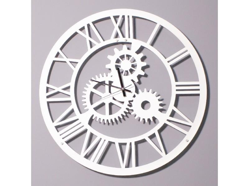 Homemania horloge de wall - pour entrée, salon, salle de séjour - blanc en métal, 50 x 0,16 x 50 cm