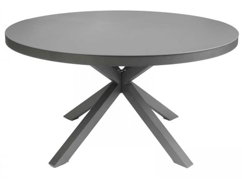 Table ronde en aluminium anthracite - dim : ø 140 x h 74 cm -pegane-