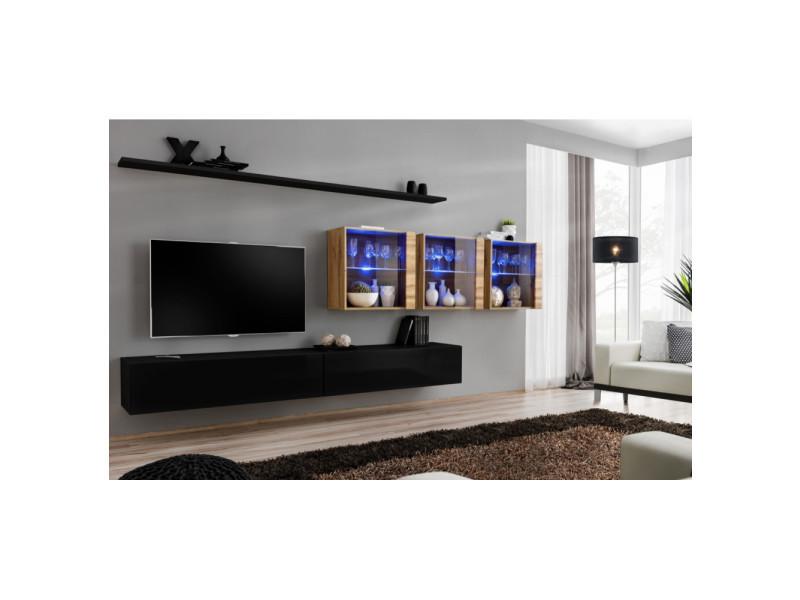 Ensemble mural - switch xvii - 3 vitrines led - 2 banc tv - 2 étagères - bois et noir - modèle 2