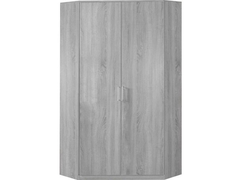 Armoire d\'angle 95x198 cm avec 2 portes coloris chêne blanc ...