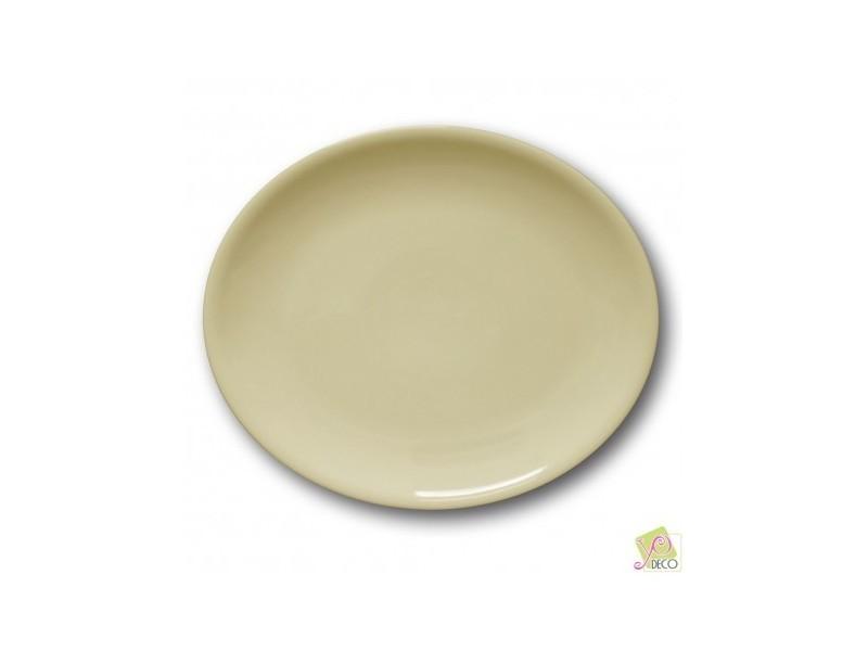 Assiette ovale porcelaine couleur crème - l 28 cm - siviglia