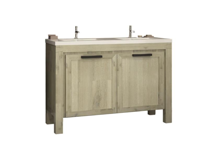 Meuble de salle de bain en bois massif double vasque (120 cm ...