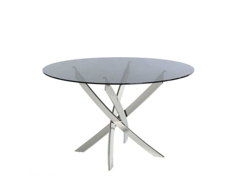 table ronde cyria en verre fum et pieds en m tal argent l 120 x l 120 x h 75 vente de ma. Black Bedroom Furniture Sets. Home Design Ideas