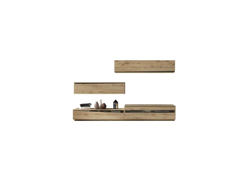 Composition meuble tv chêne blond/bois noir - camelia - l 300 x l 45 x h 180 - neuf