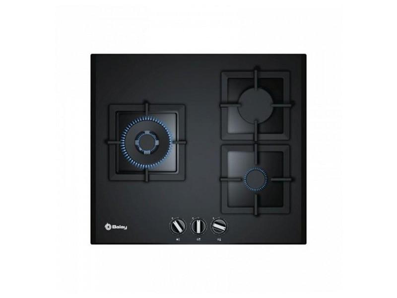 Plaque au gaz avec 3 cuisinières 8000w 60 cm noir verre - plaque de cuisson cuisine