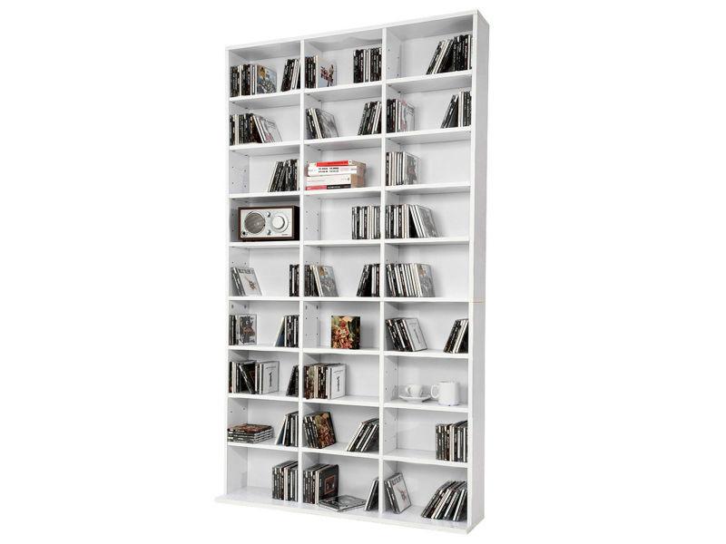 Etagère bibliothèque range cd blanc 102 x 180 x 15 cm (lxhxp)